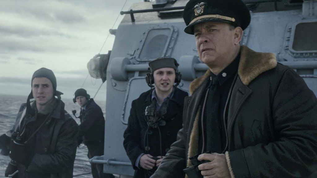 Capt Krause (TOM HANKS) with crew on the lookout for German U-Boats in TriStar Pictures' GREYHOUND.