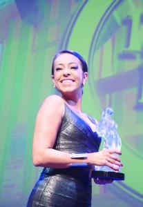 Samantha Schmutz accepting the BRAFF Award