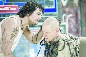 Wagner Moura (left) and Matt Damon in Columbia Pictures' ELYSIUM.