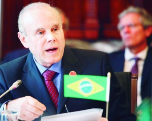 Brazil's Finance Minister Guido Mantega addresses a meeting at the G20 Finance Ministers summit