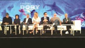 Produtores, diretores e atores de Finding Dory participaram de coletiva de imprensa em Los Angeles. Foto: Angela María Ortíz S.