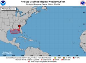 Há 80% de chances de formação tropical no Golfo do México esta semana, diz Centro de Furacões