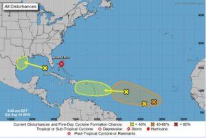 Tempestade tropical Humberto avança para o noroeste das Bahamas